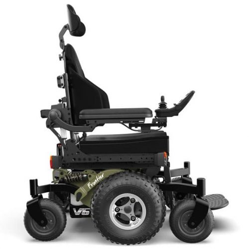 FRONTIER V6 – ALL-TERRAIN MWD ELECTRIC WHEELCHAIR V6-AT-army-black-silver